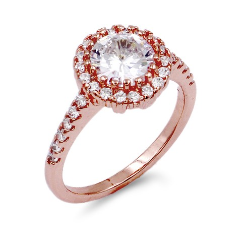 Rose Gold Plated with Clear Cubic Zirconia Wedding Rings