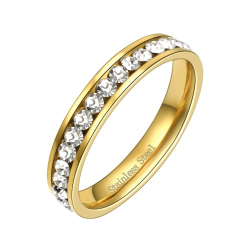 Stainless Steel Gold Plated CZ Eternity Band Engagement Ring