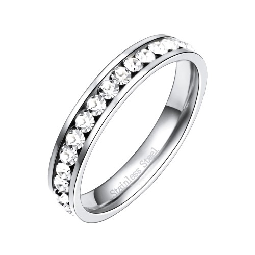 Stainless Steel Rhodium Plated CZ Eternity Band Engagement Ring