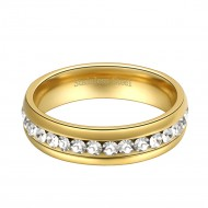 Gold Plated Stainless Steel CZ Eternity Band 5mm Engagement Ring