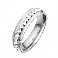 Rhodium Plated Stainless Steel CZ Eternity Band 5mm Engagement Ring