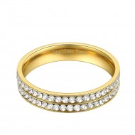 Stainless Steel Gold Plated Double Lines CZ Eternity Band Engagement Ring