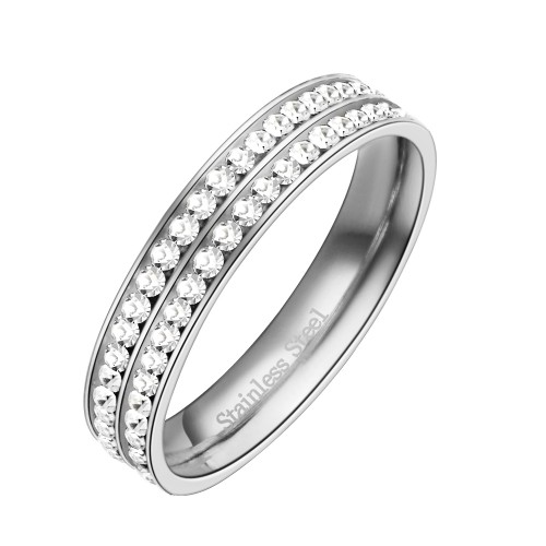 Stainless Steel Rhodium Plated Double Lines CZ Eternity Band Engagement Ring