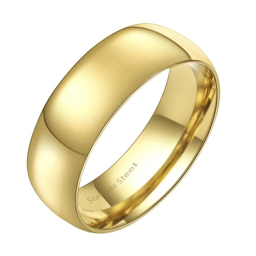 Gold Plated Stainless Steel 7MM Wedding Band Ring