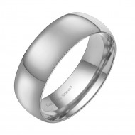 Rhodium Plated Stainless Steel 7MM Wedding Band Ring