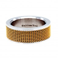 Gold Tone Stainless Steel 8MM Wedding Band Ring
