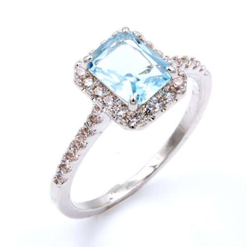 Rhodium Plated With Aqua Blue CZ Cubic Zirconia Wedding Engagement Rings