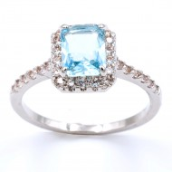 Rhodium Plated With Aqua Blue CZ Cubic Zirconia Wedding Engagement Rings