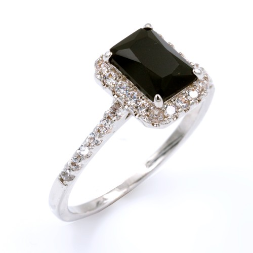Rhodium Plated With Black Cubic Zirconia Wedding Engagement Rings