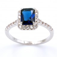 Rhodium Plated With Sapphire Blue CZ Cubic Zirconia Wedding Engagement Rings