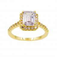 Gold Plated With Clear Cubic Zirconia Wedding Engagement Ring