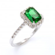 Rhodium Plated With Emerald Green CZ Cubic Zirconia Wedding Engagement Ring