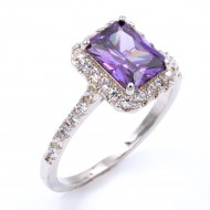 Rhodium Plated With Purple CZ Cubic Zirconia Wedding Engagement Ring
