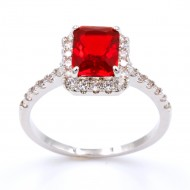 Rhodium Plated With Red CZ Cubic Zirconia Wedding Engagement Ring