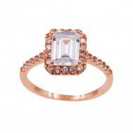 Rose Gold Plated With Clear Cubic Zirconia Wedding Engagement Ring