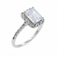 Rhodium Plated With Clear Cubic Zirconia Wedding Engagement Ring