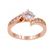 Rose Gold Plated With Clear Cubic Zirconia Wedding Engagement Rings