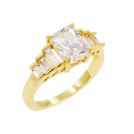 Gold Plated With Clear Cubic Zirconia Wedding Engagement Rings