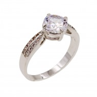 Rhodium Plated With Clear Cubic Zirconia Wedding Engagement Rings