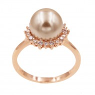 Rose Gold Plated With Pearl and Clear Cubic Zirconia Wedding Engagement Rings