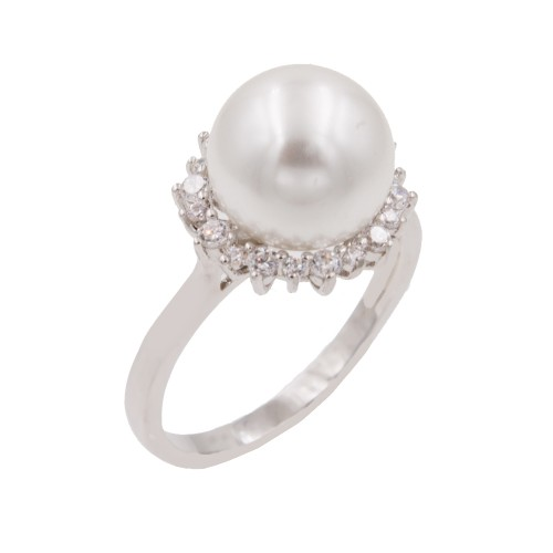 Rhodium Plated With Pearl and Clear Cubic Zirconia Wedding Engagement Rings