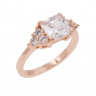 Rose Gold Plated Clear Cubic Zirconia Wedding Engagement Rings