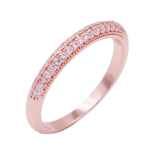 Rose Gold Plated With CZ Cubic Zirconia Wedding Sized Rings