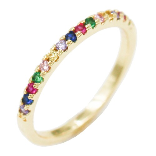 Gold Plated With Mulit Color CZ Cubic Zirconia Eternity Band Rings