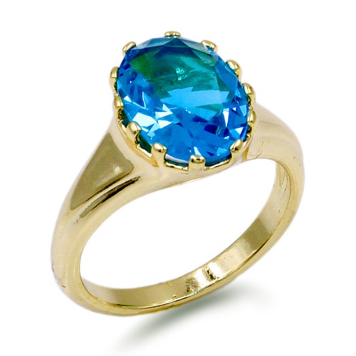 Gold Plated with Aqua Blue Oval CZ Cubic Zirconia Wedding Rings