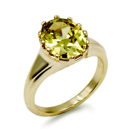 Gold Plated with Lime Green Color Oval Cubic Zirconia Wedding Rings