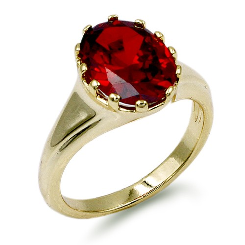 Gold Plated with Ruby Color Oval Cubic Zirconia Wedding Rings
