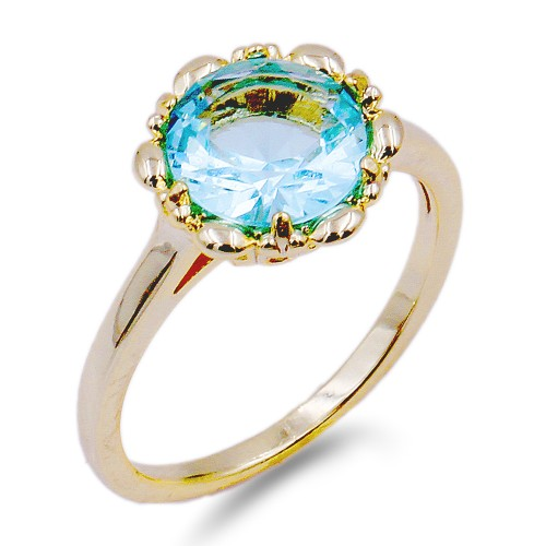 Gold Plated with Aqua Blue Color CZ Cubic Zirconia Wedding Rings