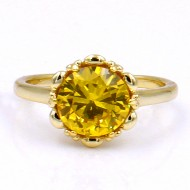 Gold Plated with Yellow Color CZ Cubic Zirconia Wedding Rings