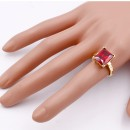 Gold Plated with Ruby Red Color Cubic Zirconia Wedding Rings