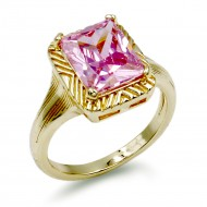 Gold Plated with Pink Color CZ Cubic Zirconia Wedding Rings