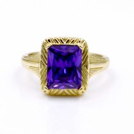 Gold Plated with Purple Color CZ Cubic Zirconia Wedding Rings