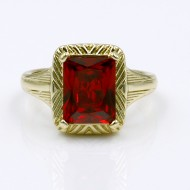Gold Plated with Ruby Red Color CZ Cubic Zirconia Wedding Rings