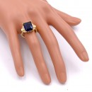 Gold Plated With Sapphire Blue Color CZ Cubic Zirconia Wedding Rings