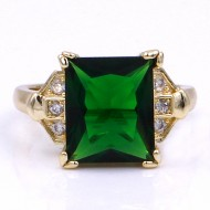 Gold Plated With Emerald Green Color CZ Cubic Zirconia Wedding Rings