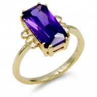 Gold Plated With Purple Color Cubic Zirconia Wedding Rings