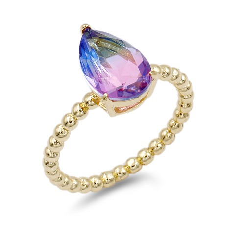 Gold Plated With Multi Color CZ Cubic Zirconia Size Rings