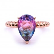 Rose Gold Plated With Multi Color CZ Cubic Zirconia Rings