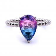 Rhodium Plated With Multi Color Cubic Zirconia Size Rings