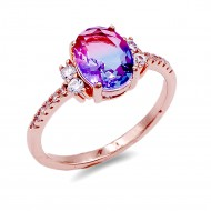 Rose Gold Plated With Multi Color CZ Cubic Zirconia Size Rings