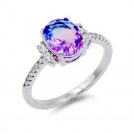 Rhodium Plated With Multi Color CZ Cubic Zirconia Size Rings