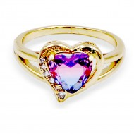 Gold Plated With Multi Color CZ Cubic Zirconia Heart-Shaped Rings