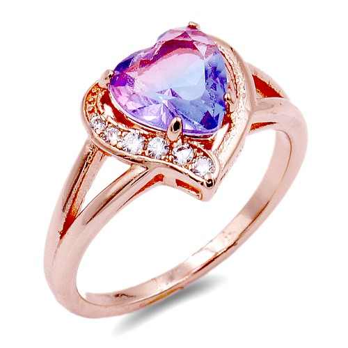 Rose Gold Plated With Multi Color CZ Cubic Zirconia Heart-Shaped Rings