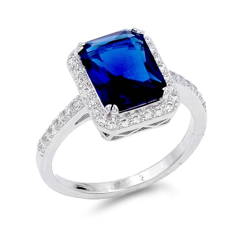 Rhodium Plated w/ Sapphire Blue Radiant CZ Engagement Rings