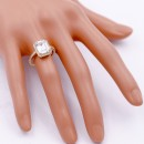 Gold Plated With Clear Radiant Cut CZ Engagement Rings