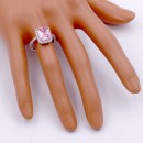 Rhodium Plated w. Pink Radiant CZ Engagement Rings